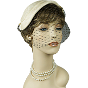 Vintage 1950s Hat White Straw Veiled Cocktail Asymmetrical by Tatiana of Saks