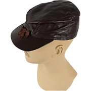 Vintage 1950s Hat Brown Leather Workwear Cap with Ear Flaps Sz 6 5/8