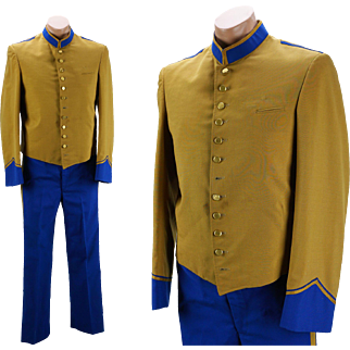 Vintage 1970s Bellman Bellhop Uniform Gold and Blue by Harry Hyman New Orleans C38 W35