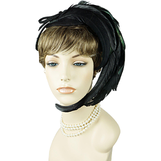 Vintage 1940s Tilt Hat Feathered Black Felt Tipster with Wired Placement Bands