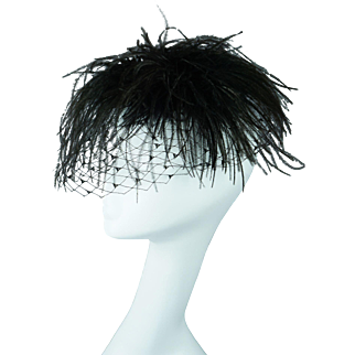 Vintage 1960s Hat Ostrich Feather Whimsey by Skol Nips