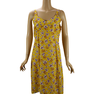 Vintage Feedsack Slip / Dress Bright Yellow Floral B44