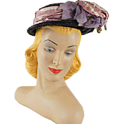 Vintage 1940s Black Straw Hat by French Designer Janine Lacroix of Paris