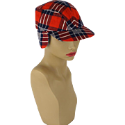 Vintage 1950s Mans Red Plaid Flannel Workwear Cap with Ear Flaps Sz 6 1/2 XS