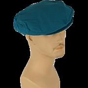 Vintage Mans Hat Teal Canvas Adjustable Flat Cap Sz M L NOS