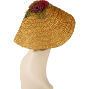 Vintage Natural Straw Hat Embellished Cone Shaped Sunhat