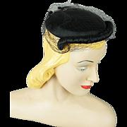 Vintage 1950s Cocktail Hat Black Veiled with Hat Pins Saks Millinery