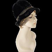 Vintage 1970s Hat Black Faux Fur Fedora by Karlette Sz 22