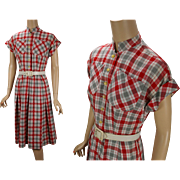 Vintage 1950s Dress Red White and Gray Cotton Plaid B36 W28
