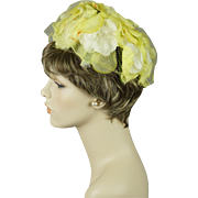 Vintage 1960s Hat Bright Yellow Floral Pillbox