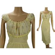 Vintage 1950s Nightgown Pale Yellow Embroidered Rayon Negligee by Lady Edso Sz 38