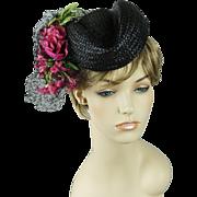 Vintage 1940s Hat Black Straw Tilt with Pink Florals New York Creations