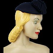 Vintage 1950s Hattie Carnegie Navy Blue Beret
