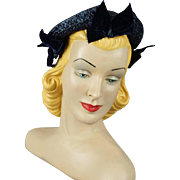 Vintage 1940s Hat Navy Blue Straw with Velvet Ribbon Custom