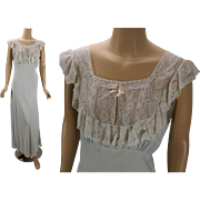 Vintage 1940s Nightgown Pale Blue Lace Bias Cut by Lady Edso Sz 40