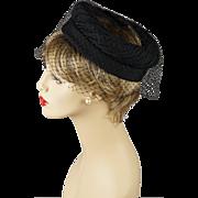 Vintage 1960s Hat Black Open Crown Veiled Toque