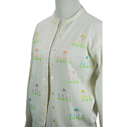 Vintage Cardigan Button Front Sweater White Orlon Acrylic Embroidered with Rosettes Sz 36