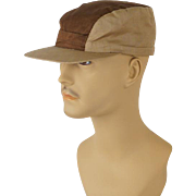 Vintage 1950s Hat Two Tone Tan and Khaki Workwear Cap with Ear Flaps Sz 7 1/8 NOS