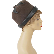 Vintage Hat Grey Felt and Vinyl Cloche Sz 22