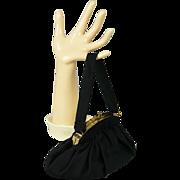 Vintage 1950s Handbag Small Black Rayon Fabric Purse by MM