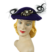 Vintage 1950s Hat Purple Velour Feathered Beret 21.5