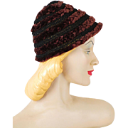 Vintage Silk and Mouton Weave Cloche Hat by Vogue Hats Schwab in DC Sz 22