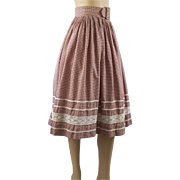 Vintage 1950s Full Skirt Brown and Cream Gingham Rockabilly by Rattet & Jon W26