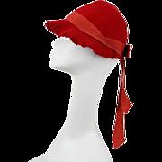 Vintage 1930s Hat NOS Red Felt Fringed Brim Sz 22