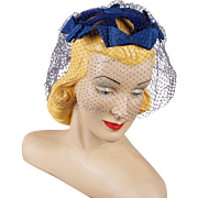 Vintage 1960s Whimsey Blue Bow Hat with Face Netting by Mary Louise