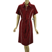 Vintage 60s - 70s Dress Red Nubby Weave Zip Front NWT Shift by Creative Knits Sz 14 1/2 B42 W38