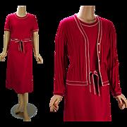 Vintage 1970s Dress and Sweater Raspberry Knit B36 W34