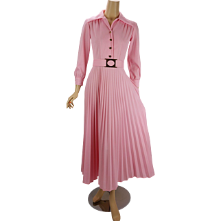 Vintage 1970s Dress Pink Full Length Pleated Skirt Party Dress B36 W26