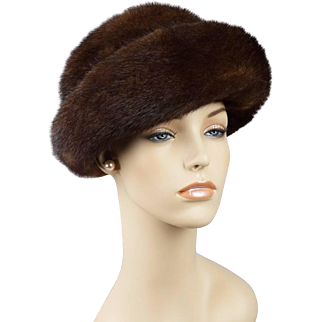 Vintage Russian Mink Hat Cloche Sz 22 1/2