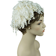 Vintage 1960s Hat White Lily of the Valley Dome Cloche by Don Anderson Sz 22