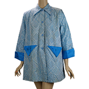 Vintage 1950s Lounging Jacket Blue Plaid by Tommies Sz 34 B44 W48