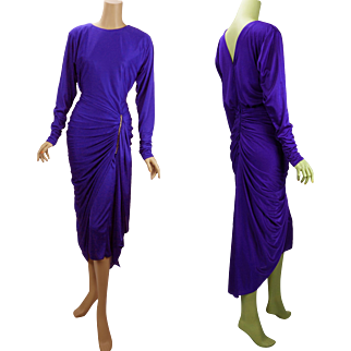 Vintage 1980s Party Dress Lilac Ruched and Draped with Rhinestone Sz 5/6 B34 W28