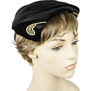 Vintage 1950s Hat Black Satin Cocktail Toque with Pearl Accents by Louise