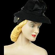Vintage 1940s Tilt Hat Black Felt Brim with Chimney Crown Wm Block