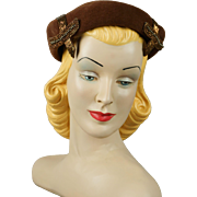 Vintage 1950s Hat Chocolate Brown Beaded Beret Sz 22 1/2