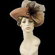Vintage 90s Does Victorian Era Hat Embellished Camel Felt Wide Brim by Deborah Sz 22