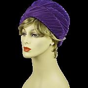 Vintage 1960s Hat Lilac Crystal Pleated Turban by Pinehurst Sz 22 1/2