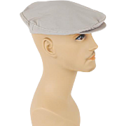 1950s Vintage Mans Hat Khaki Canvas Adjustable Flat Cap Sz M L NOS