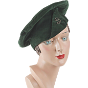 Vintage Hat Kelly Green Corduory Banded Beret Sz 22