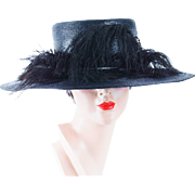1920s Vintage Hat Black Straw Wide Brim Sailor Style with Ostrich Feathers by Philipsborn Sz 23