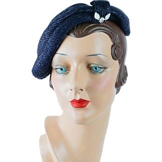 1950s Vintage Hat Navy Blue Straw Asymmetrical Beret