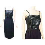 1960s Vintage Dress Black Crepe and Sequin Cocktail Formal B36 W26