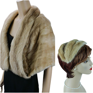 Vintage 1960s Blond Mink Shoulder Cap with Matching Clip Hat by Paris Furs