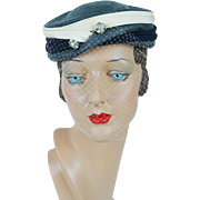 1960s Vintage Hat Blue and Ivory Straw Veiled Pillbox by Gladys & Belle