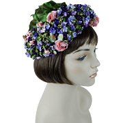 1950s Vintage Hat Floral Toque with Violets and Pinks by Karo Original Price Tag