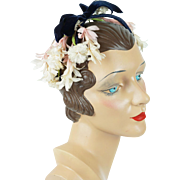 1950s Vintage Clip Headband with White and Pink Flowers with Navy Blue Velvet Bow Saks Fifth Ave